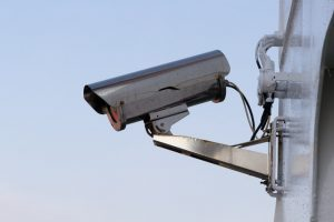 an image of a silver cctv camera