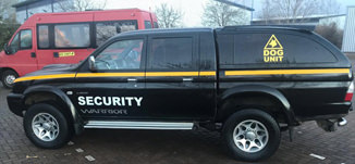An image of a mobile security patrol van, used by Umbrella Security services.