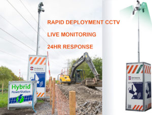 An image of rapid deployment CCTV from Umbrella Security Services, situated on a construction site.