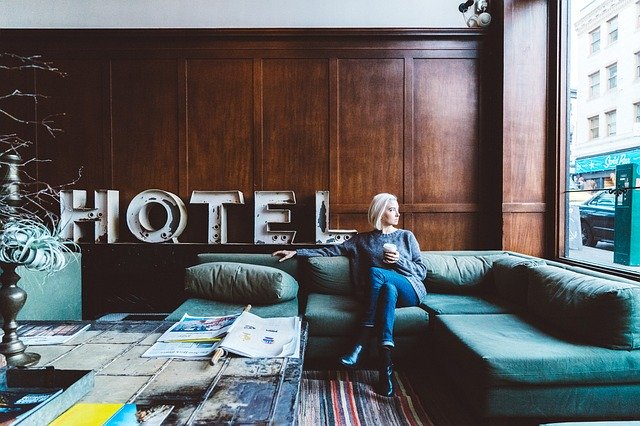 image of a woman in a hotel lobby