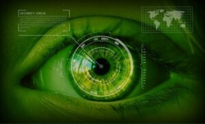 image of an eye gathering intelligence on security threat across the world