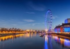 An image of the London eye during the evening.